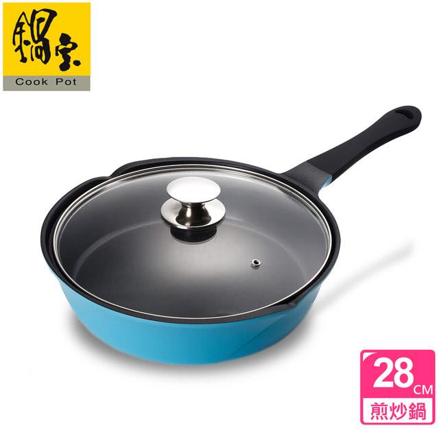 【鍋寶】玫瑰不沾煎炒鍋-28CM(海藍) AI-2800B